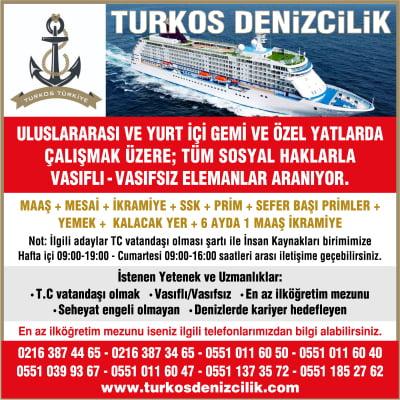 Uluslararası ve Yurtiçi Gemi ve Özel Yatlarda çalışmak üzere; tüm sosyal haklarla Vasıflı - Vasıfsız Elemanlar aranıyor.